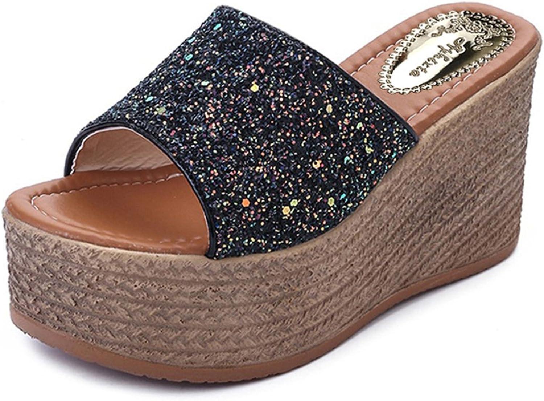 Giles Jones Wedges Flip Flops Sandals for Women,Casual Sequin Flat Platform Beach Slipper shoes