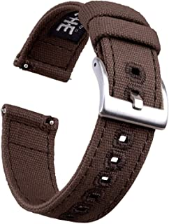 20mm Dark Brown Canvas Quick Release Watch Bands Compatible with Timex Weekender Watch Straps for Men