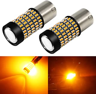 Phinlion 2800 Lumens 1156 LED Turn Signal Light Bulbs Super Bright 3014 103-SMD BA15S P21W 1156 7506 LED Bulb with Projector for Turn Signal Blinker Lights, Amber Yellow
