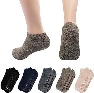 Mens 5 Pairs Winter Warm Fuzzy Non Slip Hospital Home Slipper Socks
