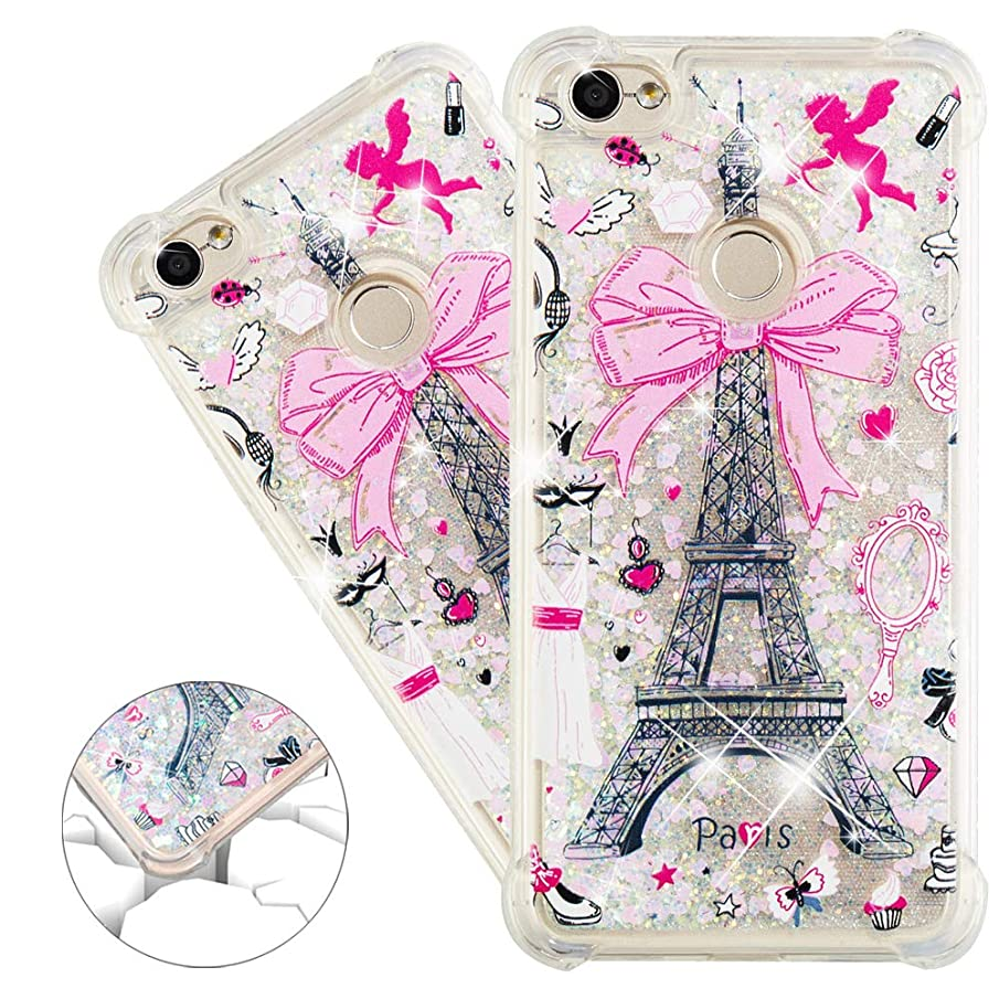 HMTECHUS Redmi Note 5A case Note 5A Prime case 3D Pattern Quicksand Shiny Floating Shiny Glitter Flowing Liquid Shockproof Protect Silicone Cover Xiaomi Redmi Note 5A Bling Eiffel Tower YB