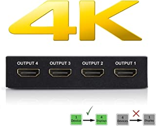 4K HDMI Splitter – 1 Input Device to 4 Displays by Ditching Extra Cable Boxes - Powerful Signal Transfer Up to 65ft – Record & Stream Games from PS4, Xbox One & More