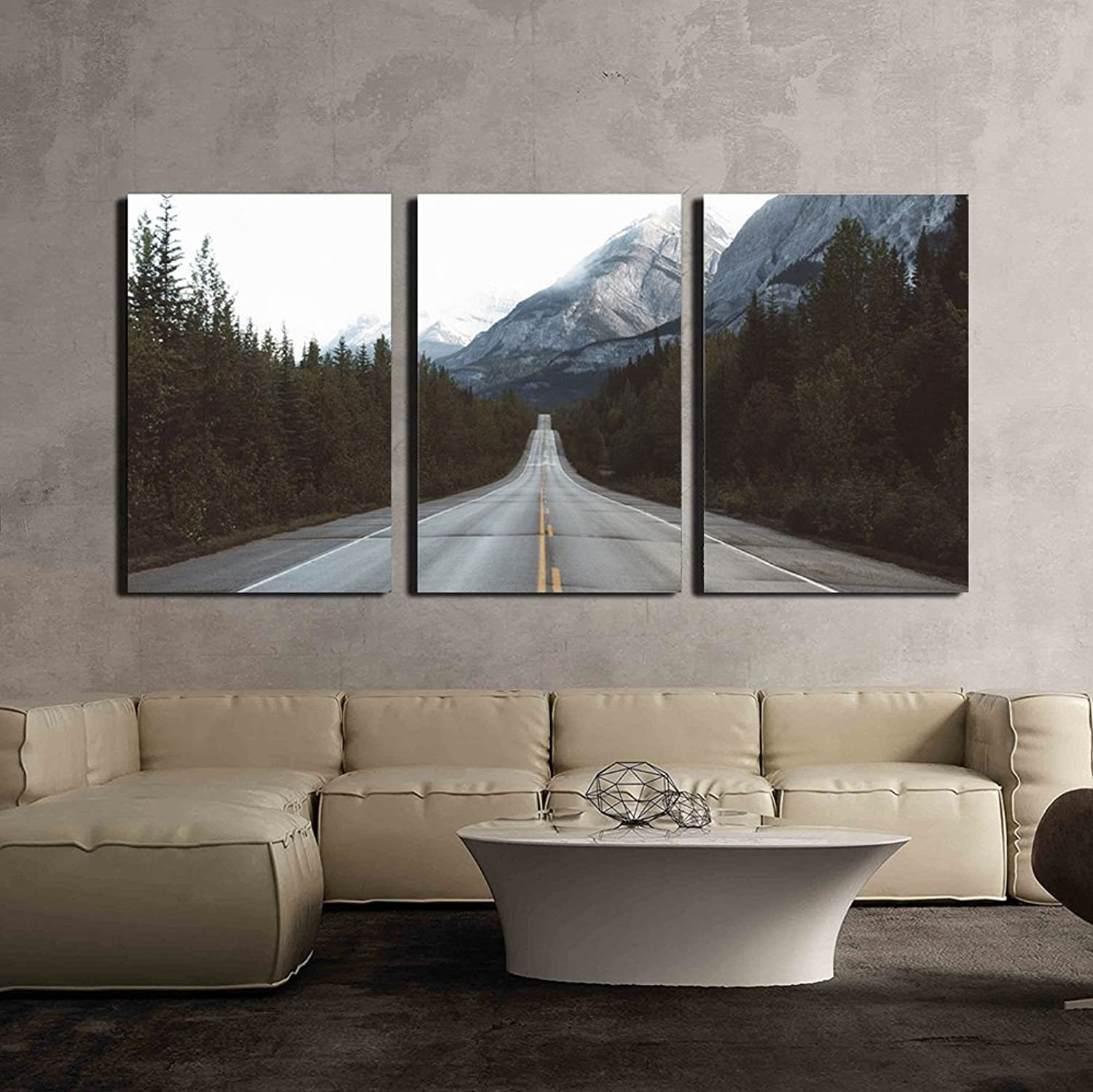Wall26 - 3 Piece Canvas Wall Art - Road in Mountain Area - Modern Home Decor Stretched and Framed Ready to Hang - 24 x36 x3 Panels