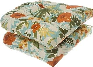 Glenna Jean Indoor/Outdoor Reversible Wicker Seat Cushions 2 Pack, Havana Floral