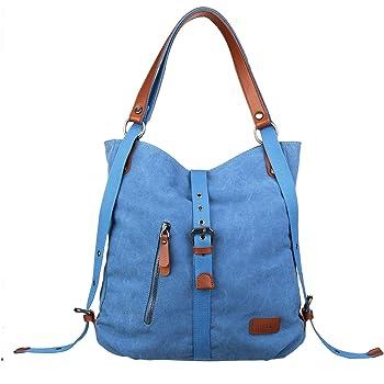 Joseko Canvas Tasche Damen Rucksack Handtasche Vintage Umhangentasche Anti Diebstahl Hobotasche Fur Alltag Buro Schule Ausflug Einkauf Blau Amazon De Koffer Rucksacke Taschen