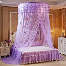 Guerbrilla Luxury Princess Pastoral Lace Bed Canopy Net Crib Luminous Butterfly, Round Hoop Princess Girl Pastoral Lace Be...