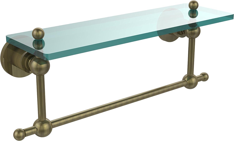 Allied Brass AP-1TB 16-ABR Glass Shelf with Towel Bar, 16-Inch x 5-Inch
