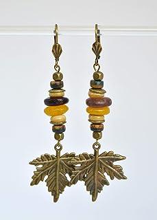 Orecchini lunghi con pendenti in foglia d'acero, regali unici fatti a mano per le donne