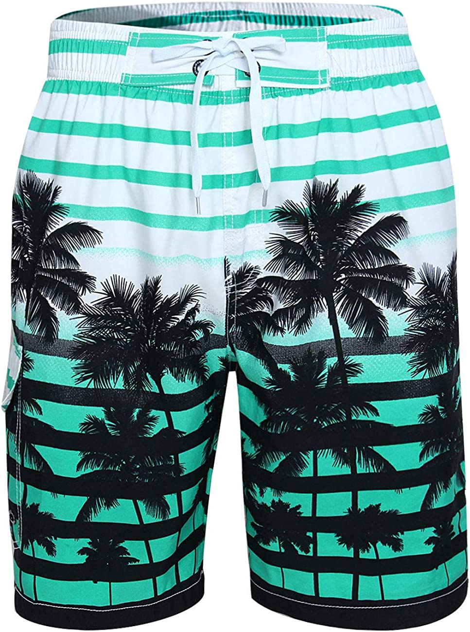 Cogild Mens Swim Trunks, Colorful Printed Coconut Tree Long Swimming Trunks, Quick Dry Board Shorts with Mesh Lining