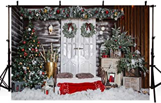 MEHOFOTO Christmas Party Decoration Photo Studio Backdrops Christmas Tree Door Bells Backgrounds Props for Photography 7x5ft
