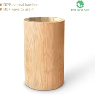 Sophie & Panda Bamboo Pen Holder Pencil Holder - Don't Miss This Extremely Versatile and Beautiful Cylinder Bamboo Storage Organizer which can Also be Used as Makeup Brush Holder or Utensil Caddy