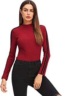 SweatyRocks Women's Casual High Neck Long Sleeve Ribbed Tee Slim Fit Stretch Striped Knit T Shirts