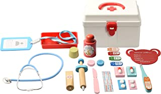 BESTING Doctor Pretend Play Set Wood Toys with Medical Kit Storage Aid Box for Kids Stethoscope Red Cross Party Role Plays...