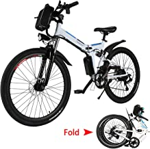emdaot 26'' Electric Mountain Bike with Removable Lithium-Ion Battery (36V 250W), Electric Bike 21 Speed Gear and Three Working Modes