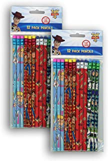 Disney Toy Story 4 Wood Pencil - 2 Packs of 12 Pencils, 2 Lead and Real Wood, Little Bo Peep, Sheriff Woody, Rex, Buzz Lightyear