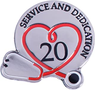 20 Year Medical Service Award Pin with Stethoscope