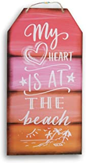 Greenbrier International Glittering Hanging ''My Heart is at The Beach'' Sign - 8 x 15.5 Inches