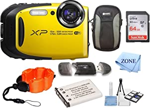 Fujifilm FinePix XP80 Waterproof Digital Camera with 2.7-Inch LCD + 64GB Memory Card+ Wrist Floating Strap + Replacement NP-45 Battey Bundle kit (Yellow)