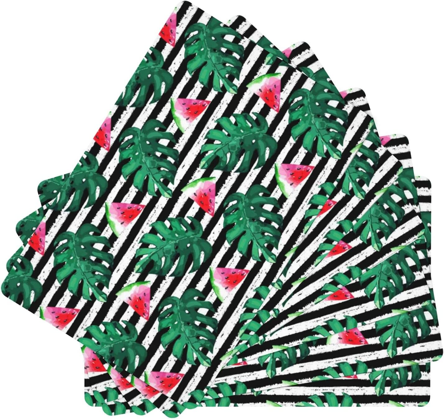 Watermelon Colorado Springs Mall on Striped Background Placemat Set Mats 67% OFF of fixed price Table Leather