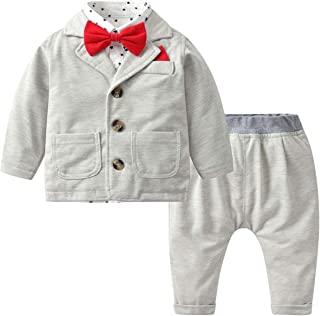 famuka Baby Boys Clothing Sets Shirt + Pants+ Coat 3PCs Gentleman Clothes Suit