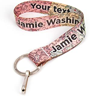 Buttonsmith Map Custom Wristlet Key Chain Lanyard - Customize with Your Name - Short Length with Flat Ring and Clip - Made in The USA