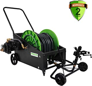 IRRIGLAD Mechanical Fully Automatic Irrigation Garden Hose Reel Cart, 131Ft Retractable Water Planting Truck With Convenient Hose Guide, Irrigation for Gardens, Lawn, Farm, Pasture