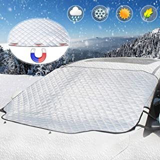 Car Windshield Snow Cover, UBEGOOD Ice Snow Frost Cover for Windscreen, Car Sunshades with Magnetic Edges, Thicker 4 Layers Waterproof Guard Covers, Fits for Most Standard Cars