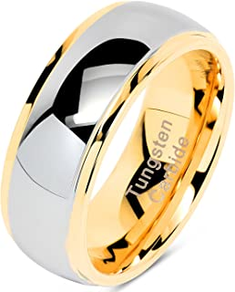 100S JEWELRY Engraved Personalized Tungsten Rings for Men Women Wedding Band Two Tone Gold Silver Engagement Sizes 6-16