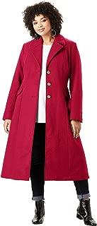 Women's Plus Size Long Wool-Blend Coat