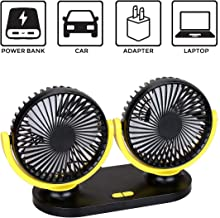 Car Fans,USB Electric Cooling Fan,360 Degree Rotatable Dual Head 3 Speed Air Fan for SUV RV Boat Truck Desk Fan Home Office (Black Yellow)