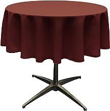 LA Linen Polyester Poplin Tablecloth 51-Inch Round, Burgundy