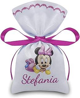 Crociedelizie, Stock 25 sacchetti bomboniere portaconfetti caramelle disney minnie + nome bimba nascita battesimo compleanno