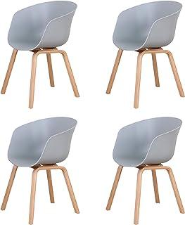BenyLed Lot de 4 Chaises de Salle à Manger Scandinave Design Rétro Chaise D'appoint avec Pieds en Bois de Chêne et Assise ...