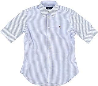 RALPH LAUREN Polo Women's Short Sleeve Slim Fit Oxford Shirt, Blue/White, X-Small