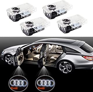 Car Door LED Lighting Entry Ghost Shadow Projector Welcome Lamp Logo Light for Audi Series Symbol Emblem Courtesy Step Lights Kit Replacement for Audi A4 A3 A6 Q7 Q5 A1 A5 TT A8 Q3 A7 R8 RS (4 Packs)