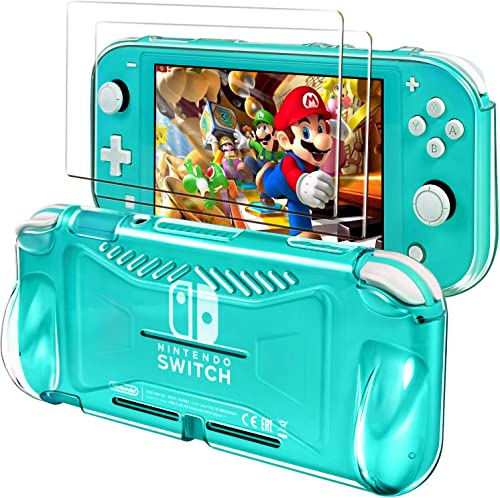 iVoler Protective TPU Case for Nintendo Switch Lite 2019 with 2 Pack Tempered Glass Screen Protector, Grip Cover with...