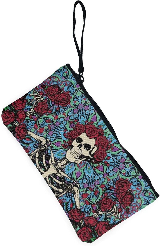 AORRUAM Roses and skulls Canvas Coin Purse,Canvas Zipper Pencil Cases,Canvas Change Purse Pouch Mini Wallet Coin Bag