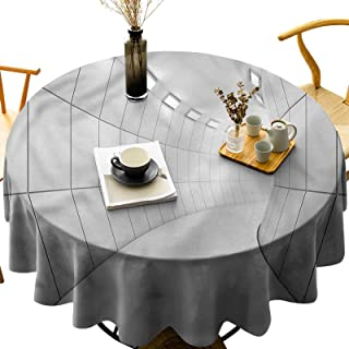 Dasnh Round Polyester Tablecloth Wash Free, Wrinkle Free Geometric Futuristic Tunnel Diameter 60 inch Great for Wedding | ...