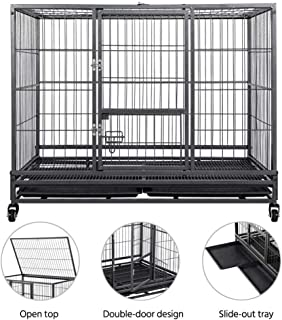 Yaheetech Metal Dog Cages and Crates - Collapsible Dog Kennel Playpen Indoor Outdoor w/Double Doors & Locks & Double Tray & Lockable Wheels for Small/Medium Dogs 43-inch Black