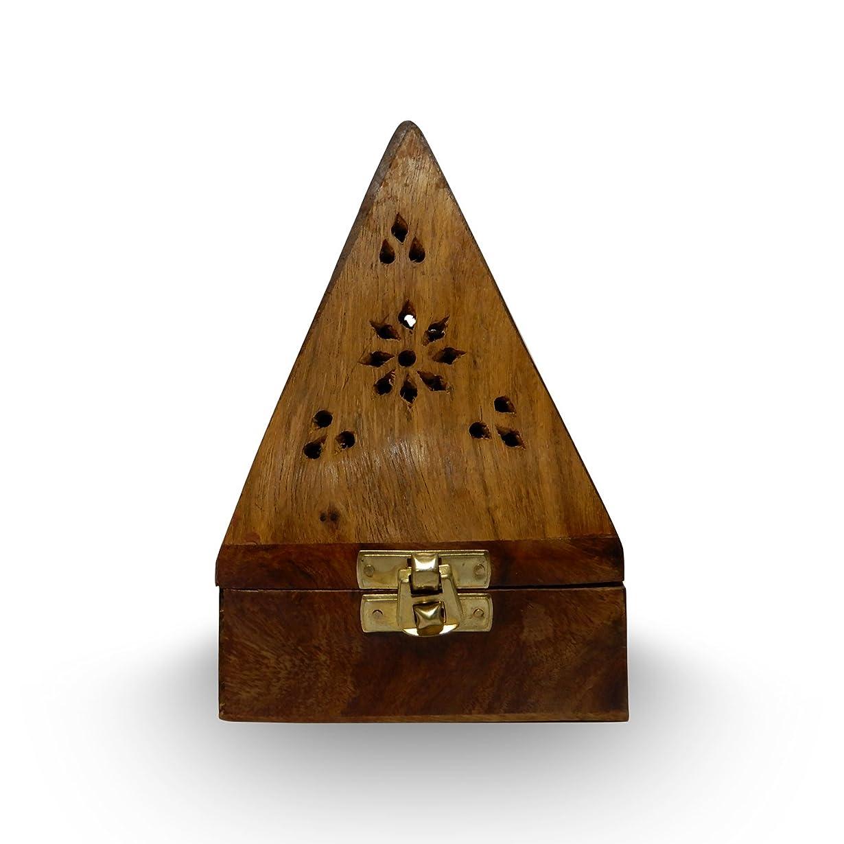 ボトル専制慣性木製クラシックピラミッドスタイルBurner ( Dhoopホルダー) with Base正方形とトップ円錐形状、木製香炉ボックス