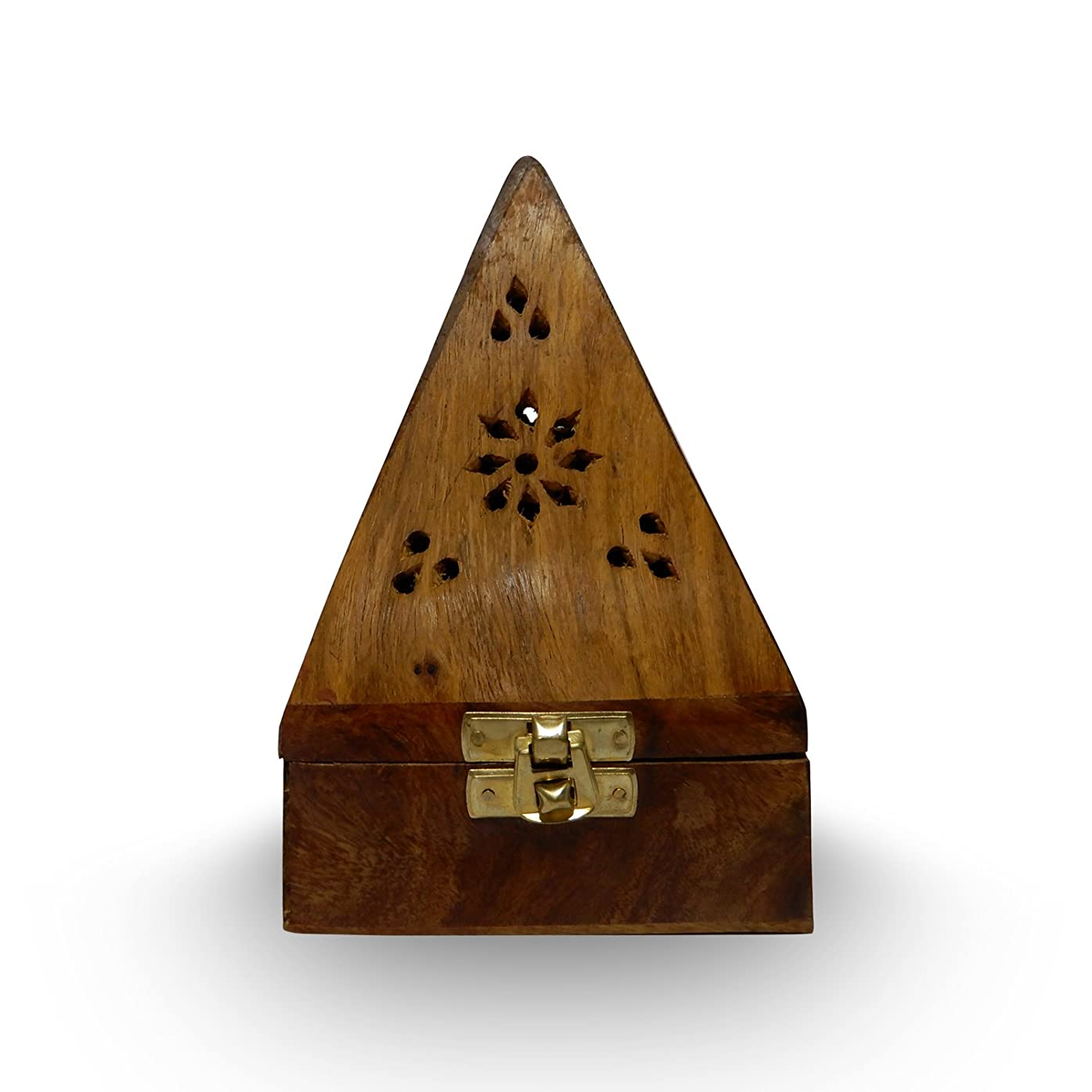ブロンズレタッチ成長木製クラシックピラミッドスタイルBurner ( Dhoopホルダー) with Base正方形とトップ円錐形状、木製香炉ボックス