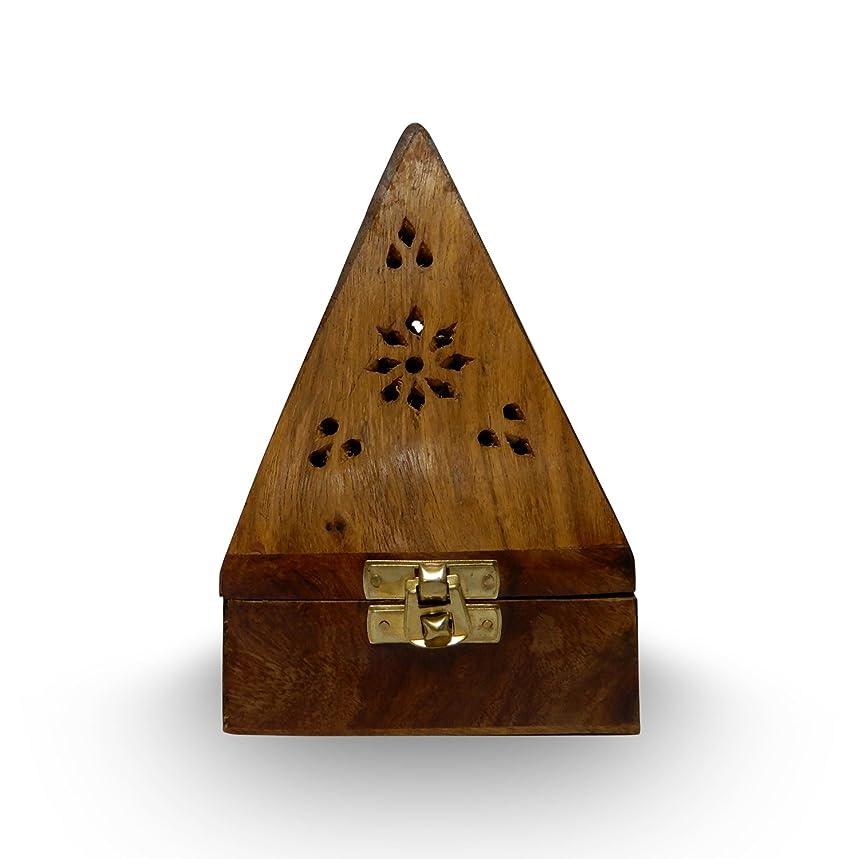 関係する認証へこみ木製クラシックピラミッドスタイルBurner ( Dhoopホルダー) with Base正方形とトップ円錐形状、木製香炉ボックス