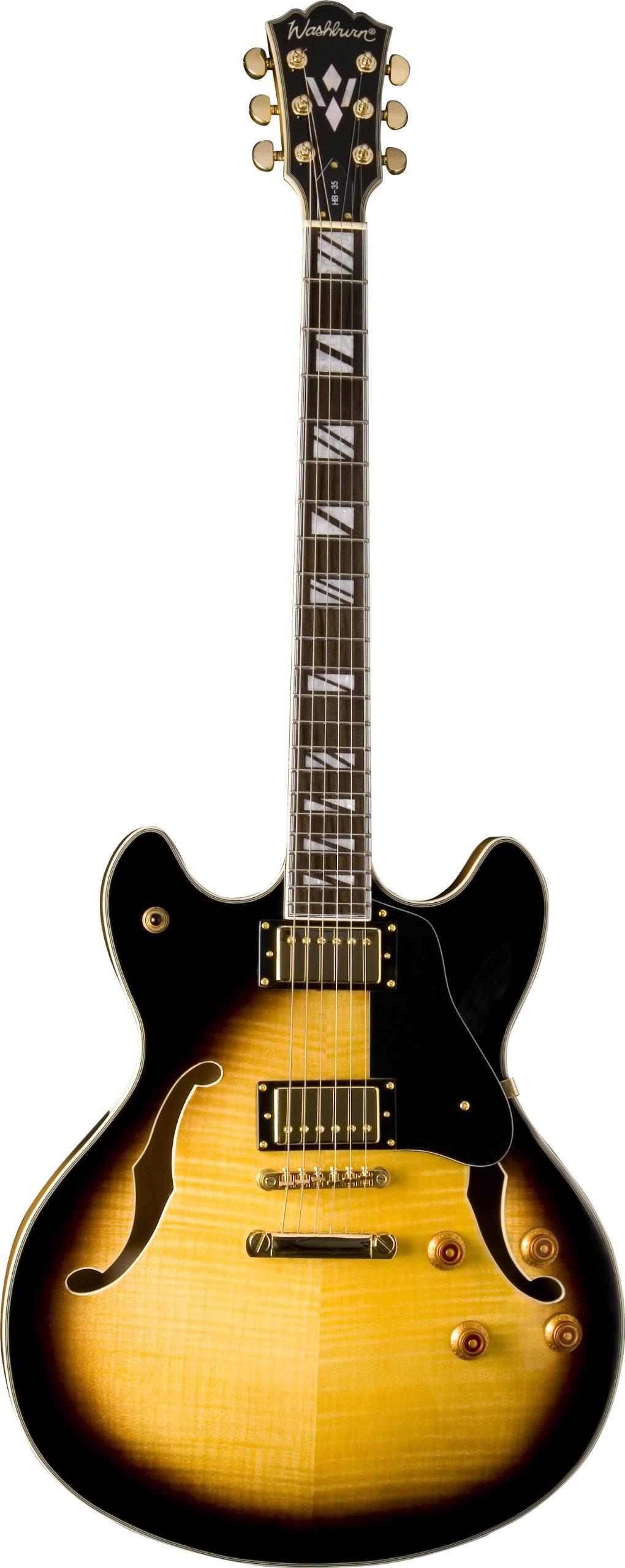 Cheap Washburn HB Series HB35TSK Hollow-Body Electric Guitar Tobacco SunBurst Black Friday & Cyber Monday 2019