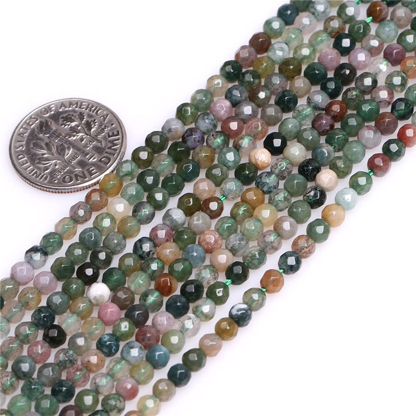 Indian Agate Beads for Jewelry Making Natural Gemstone Semi Precious 3mm Round Faceted 15