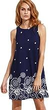 Romwe Women's Summer Sundress Floral Printed Sleeveless Casual A Line Dress