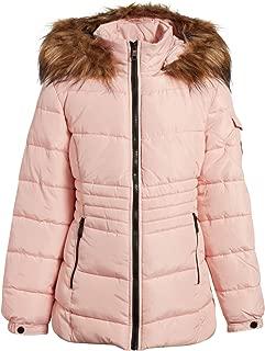 Steve Madden Girls' Puffer Bubble Winter Jacket with Faux Fur Trim Hood