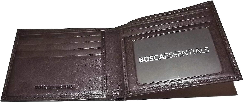 Bosca Nappa Leather Bifold Executive ID Wallet Dark Brown