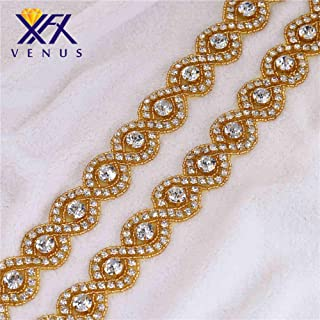 XINFANGXIU Gold Beaded Rhinestone Crystal Trim Trimming by The Yard for Bridal Wedding Formal Dress Sash Belt Sew Iron on Hot Fix Bridesmaid Gown Womens Prom Formal Belt