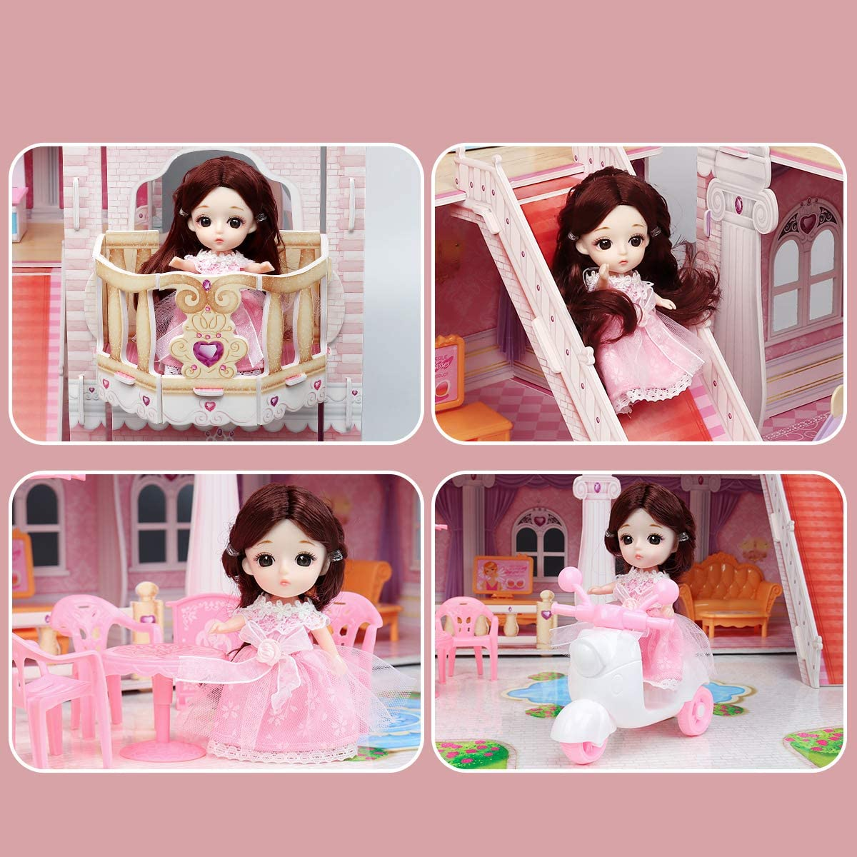 Height 40.5 Length 38 Width 22.5 for 3-6 Year Girls 4 Floors Large Doll House Toy with 49pcs Furniture Accessories and Lights Dollhouse Toy Sets 4-story//10-rooms