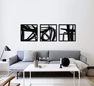 Hikate 1960   3 Individual Abstract Metal Wall Art - Home Décor Living Room Office Dining Aluminum Modern Design Sculpture Re